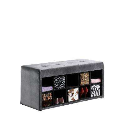 18.75 in. Deep gray Devin Velour Tufted Multi-Purpose Storage Bench