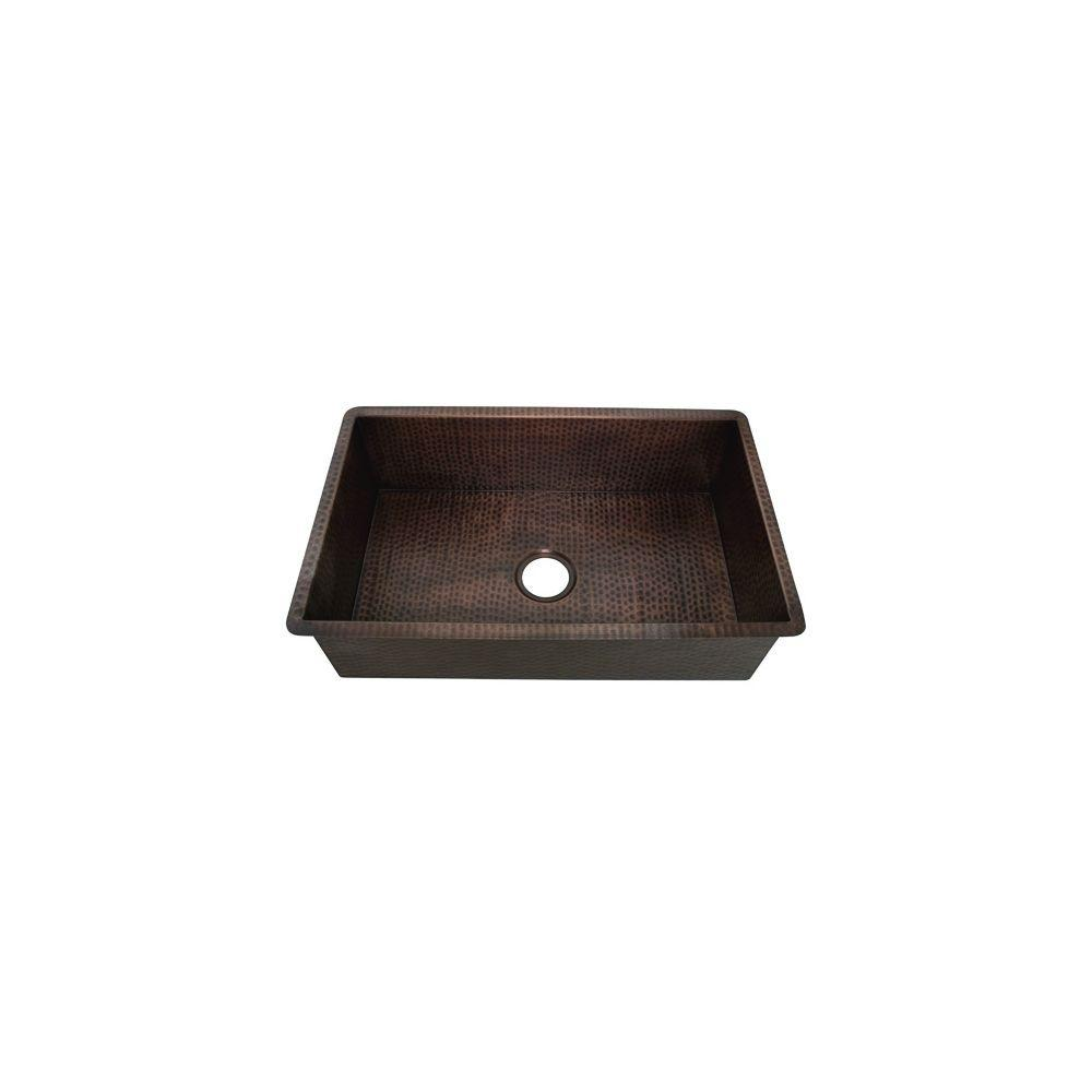 Undermount Weathered Copper 30.5 in. 0-Hole Single Bowl Kitchen Sink