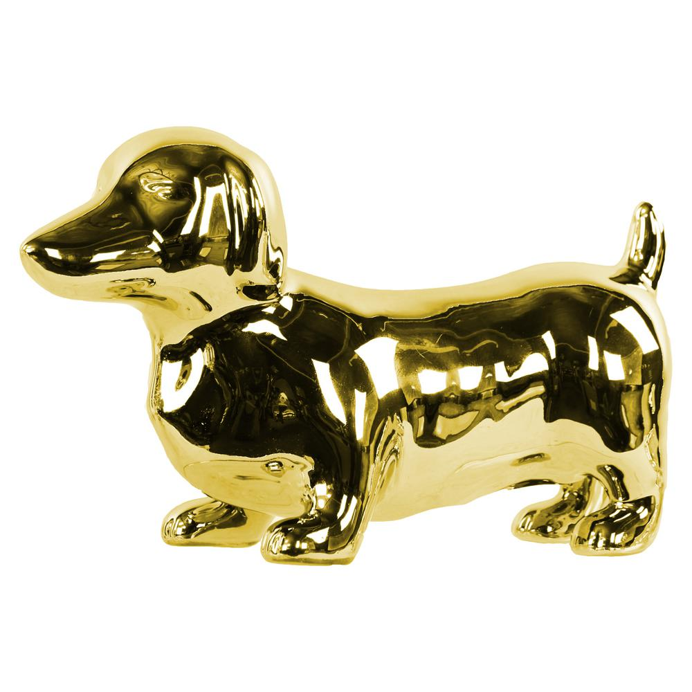 Urban Trend 6.25 in. H Dog Decorative Figurine in Gold Po...