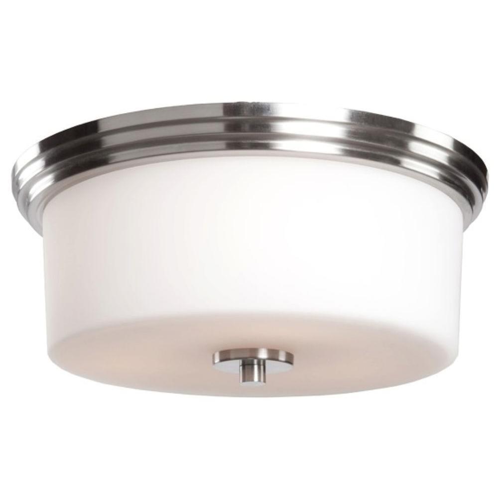 Obu 2-Light Polished Nickel Flushmount