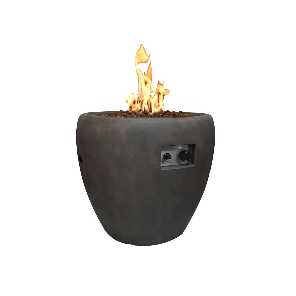 Modeno Lincoln 27 in. x 26 in. Grey Round Concrete Propane Pit with Electronic Ignition Cover and Lava Rock