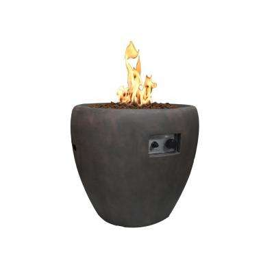 Lincoln 27 in. x 26 in. Grey Round Concrete Propane Pit with Electronic Ignition Cover and Lava Rock