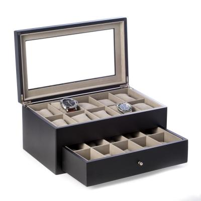Matte Black Wood 20-Watch Box with Glass Top and Drawer, Velour Lining and Pillows