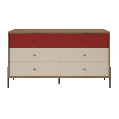 Joy 59 in. Wide 6-Drawer Red and Off-White Double Dresser