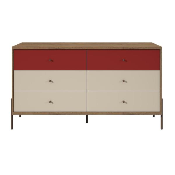 Manhattan Comfort Joy 59 in. Wide 6-Drawer Red and Off-White Double