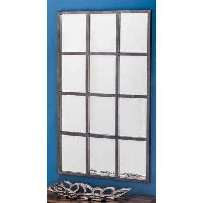 44 in. x 27 in. 12-Panel Gray Framed Wall Mirror