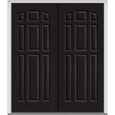 72 in. x 80 in. Classic Left-Hand Inswing 9-Panel Painted Fiberglass Smooth Prehung Front Door with Brickmould