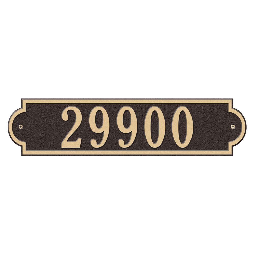 Richmond Rectangular Bronze/Gold Estate Wall One Line Horizontal Address Plaque