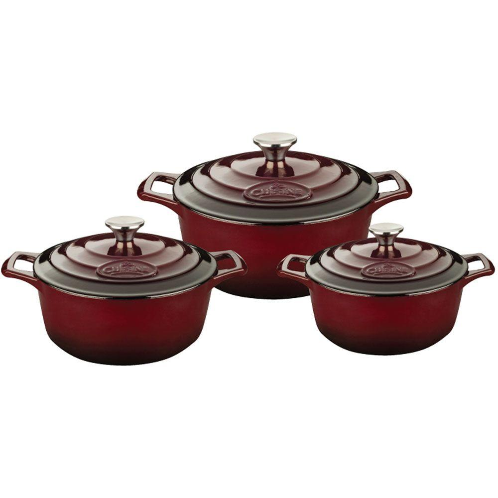 PRO Cast Iron Round Casserole Set with Enamel Finish in Ruby