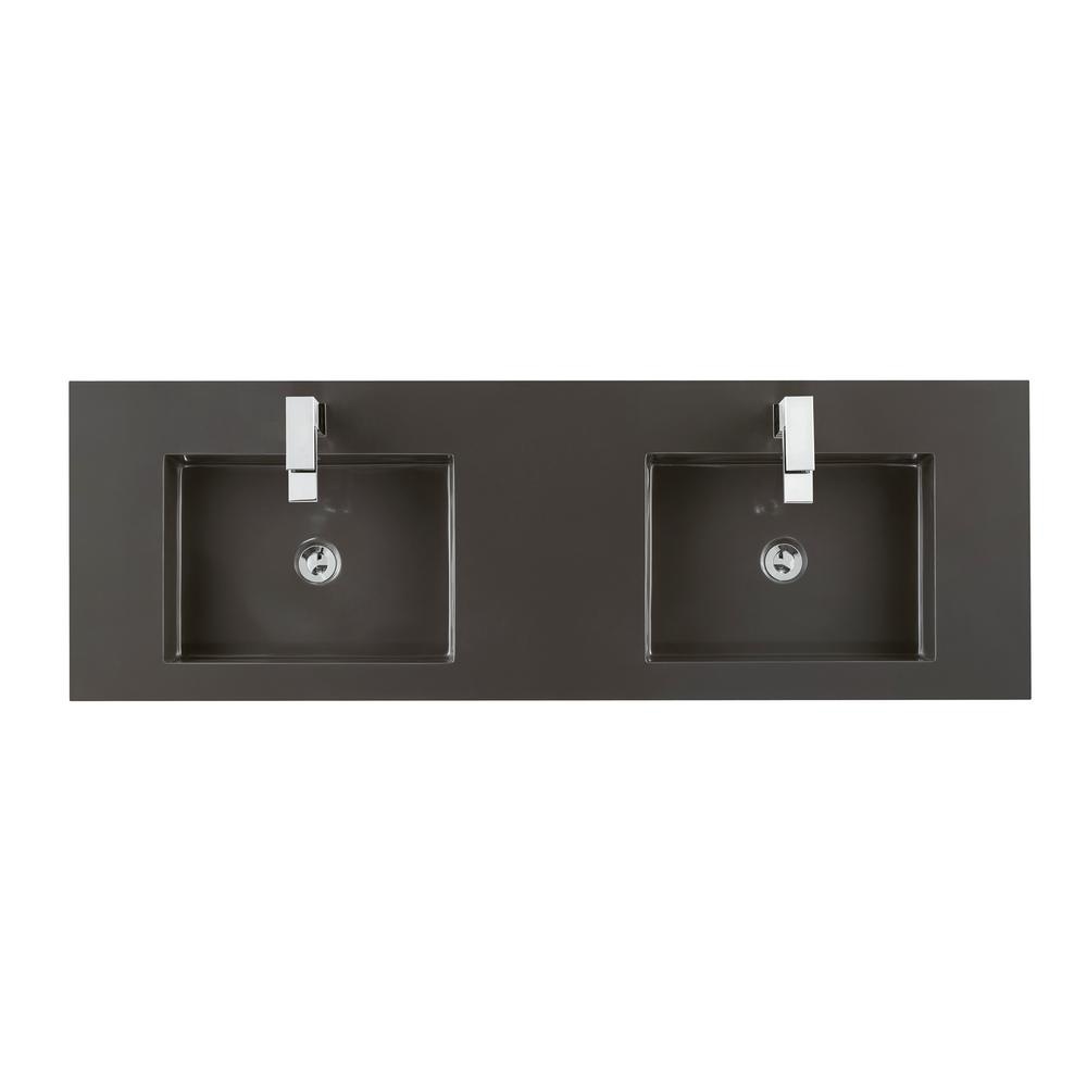 James Martin Vanities 59 In. W Solid Surface Double Basin