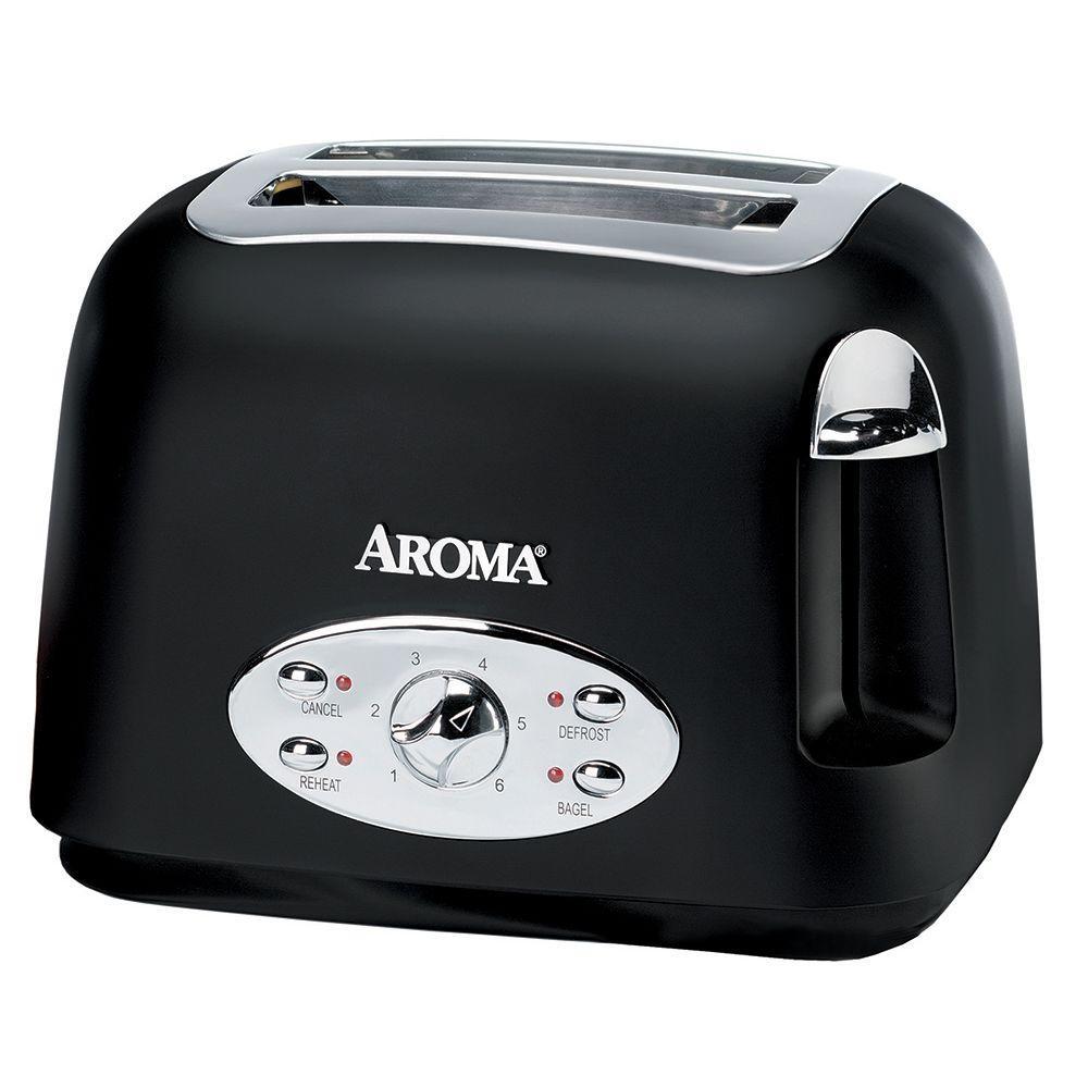 AROMA 2-Slice Toaster, Matte Black
