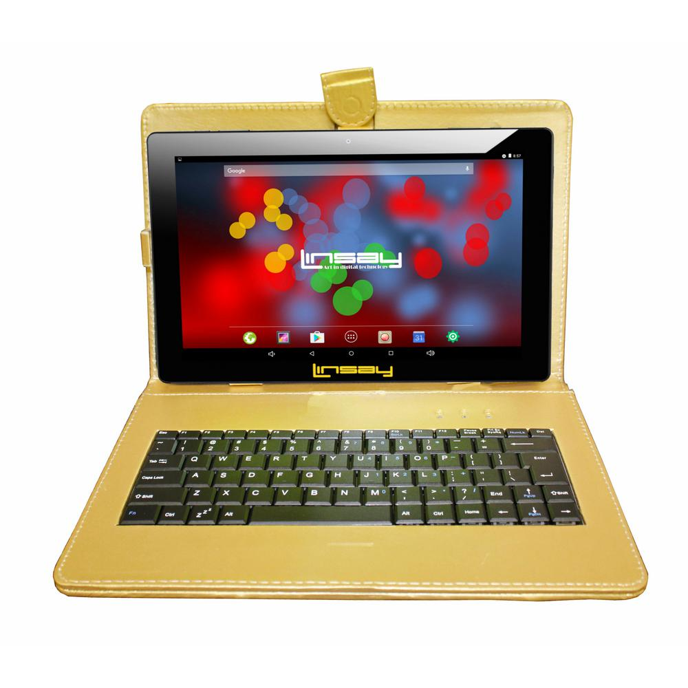 LINSAY 10.1 in. 1280x800 IPS 2GB RAM 16GB Android 9.0 Pie Tablet with Golden Keyboard was $374.99 now $89.99 (76.0% off)
