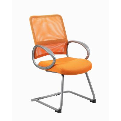 Mesh Desk Chair. Orange Mesh Fabric. Pewter finish Arms & Base. Puematic Lift