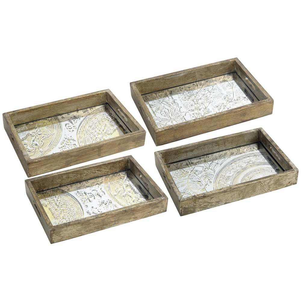 12 in. x 8 in. Decorative Tray in Rustic Brown (4-Pack)