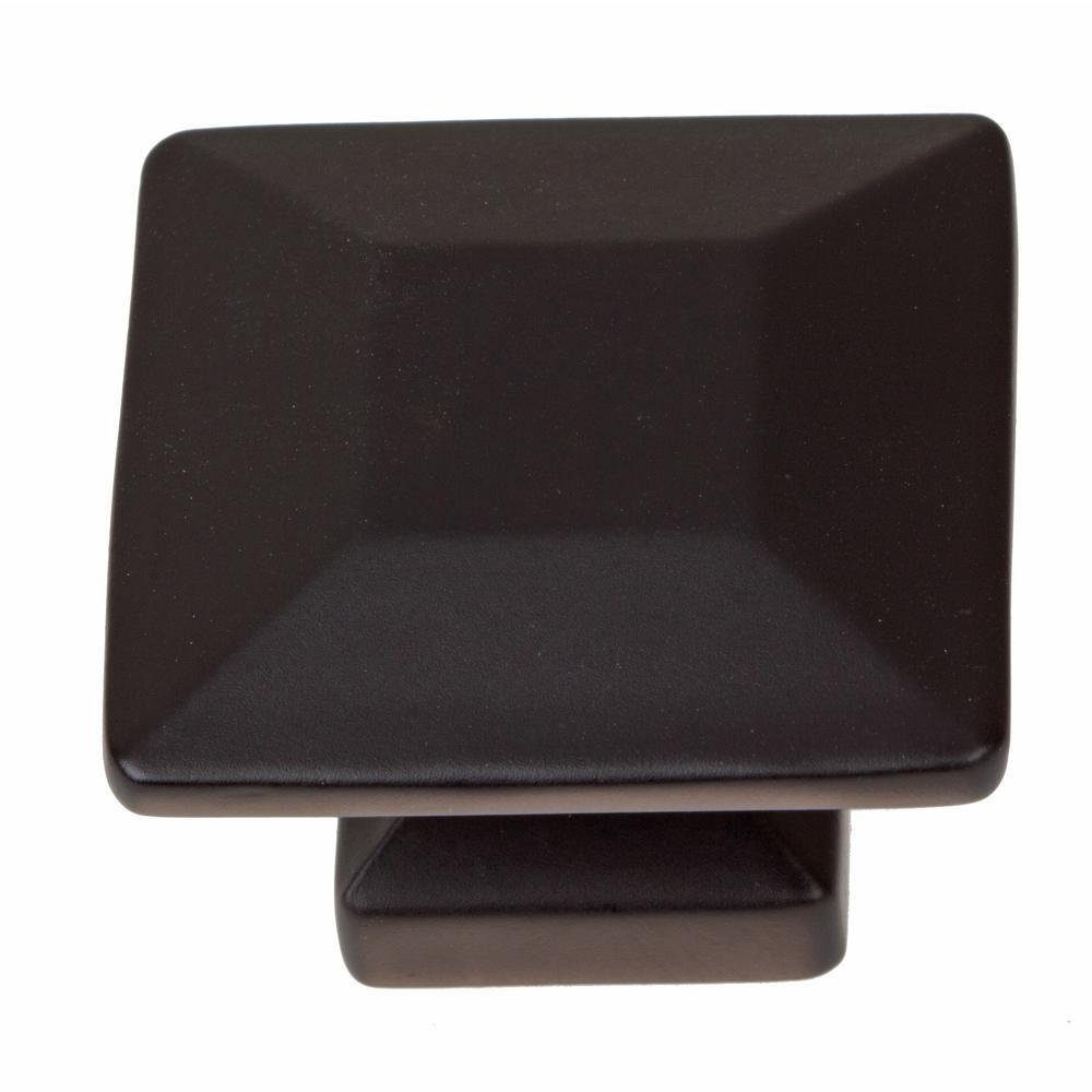 1-3/8 in. Matte Black Square Cabinet Knob (10-Pack)