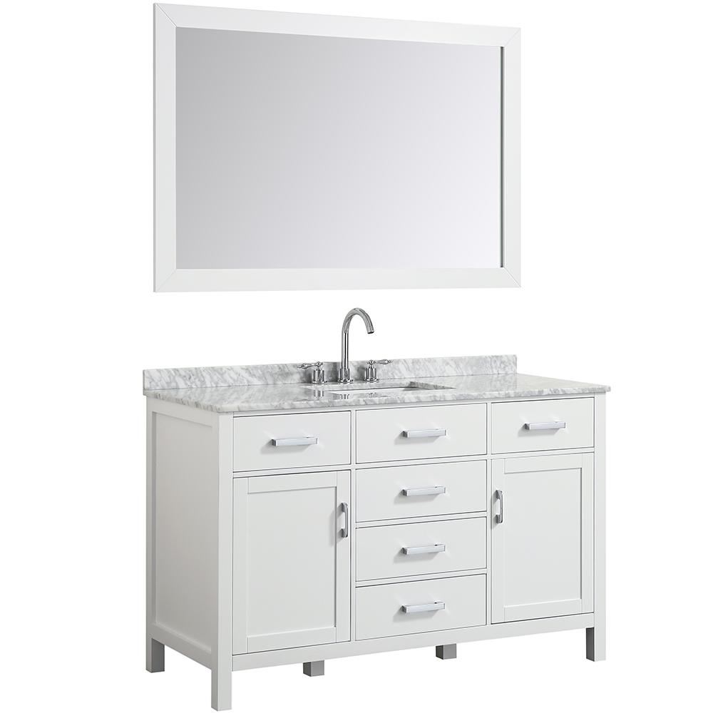 Hampton 55 in. Bath Vanity in White with Marble Vanity Top