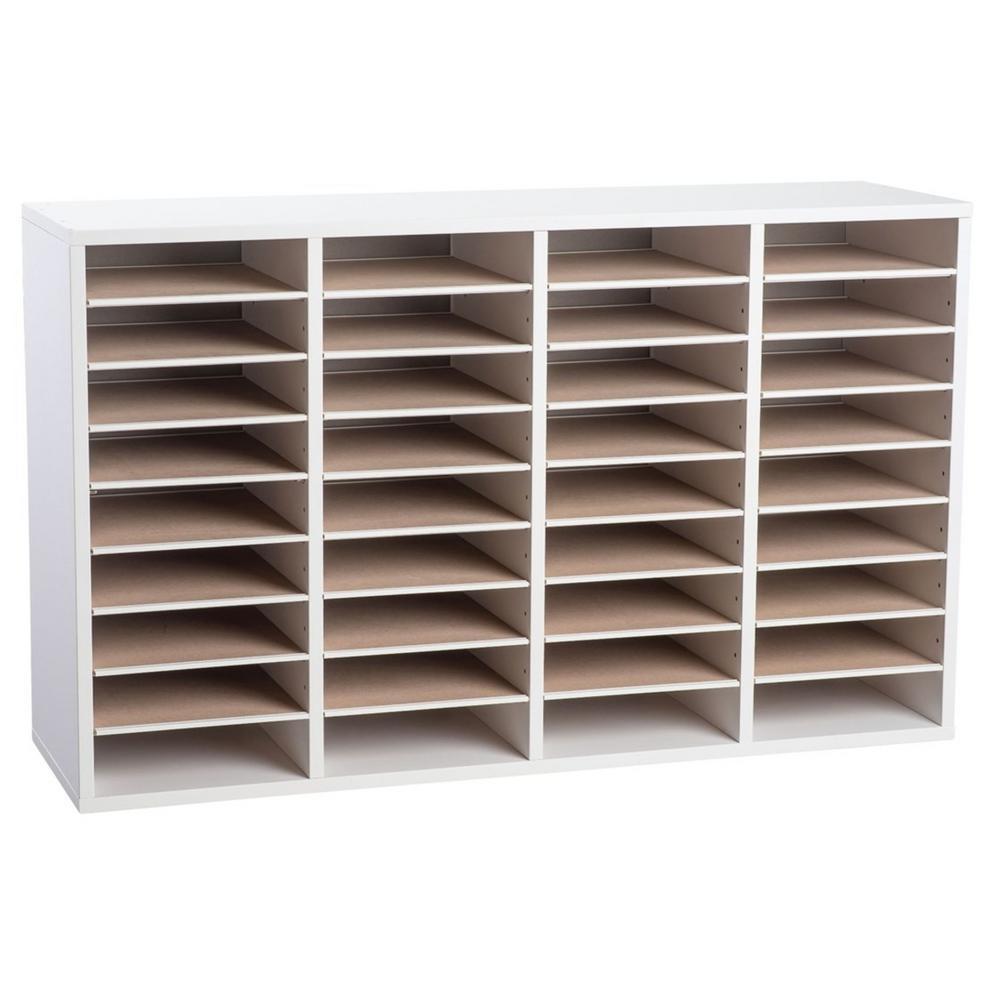 Wood Adjustable 36 Compartment Literature Organizer, White