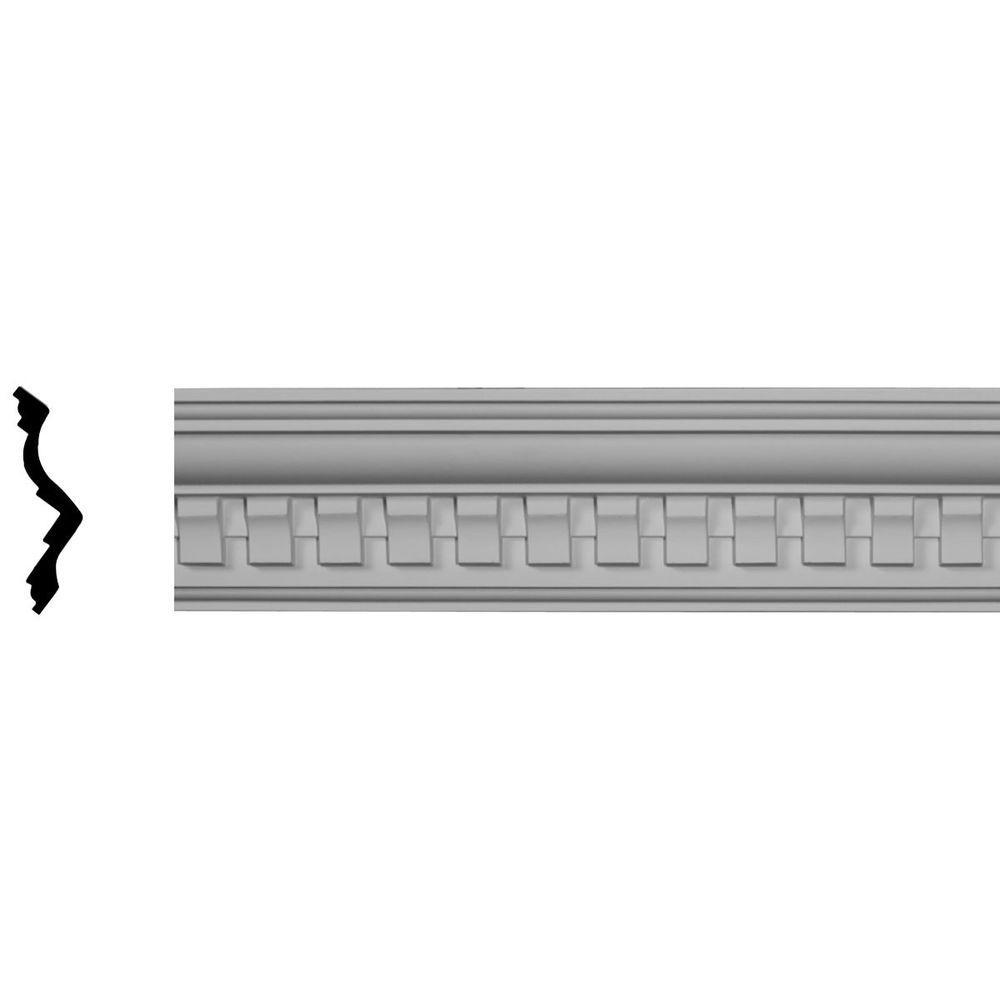 Ekena Millwork 3-7/8 in. x 4-1/4 in. x 95-3/8 in. Polyurethane Bulwark Dentil Crown Moulding