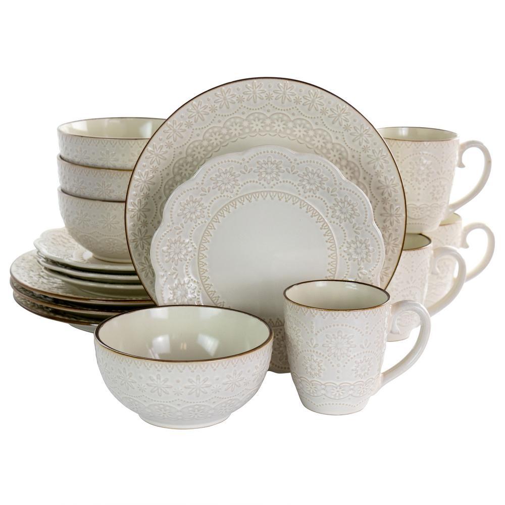 16-Piece Contessa Embossed Ivory Stoneware Dinnerware Set (Service for 4)