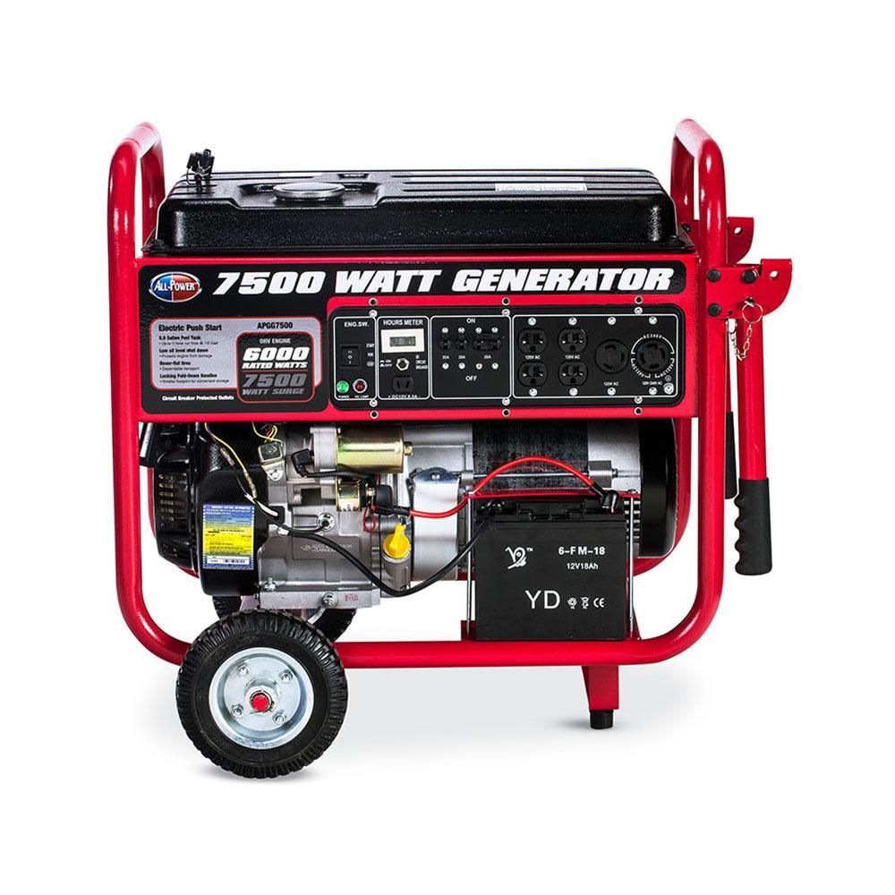 All Power 7500-Watt Gasoline Powered With Electric Start Portable Generator