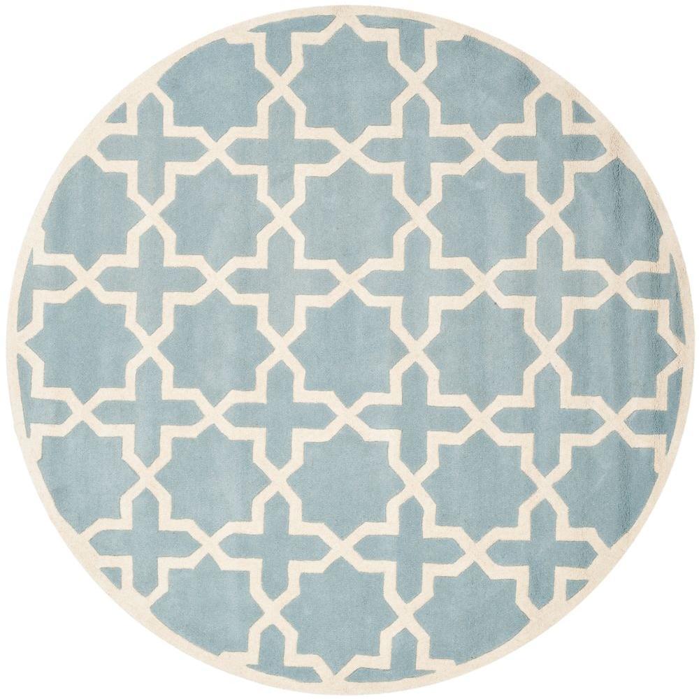 safavieh chatham blue ivory 7 ft x 7 ft round area rug cht732b 7r the home depot. Black Bedroom Furniture Sets. Home Design Ideas
