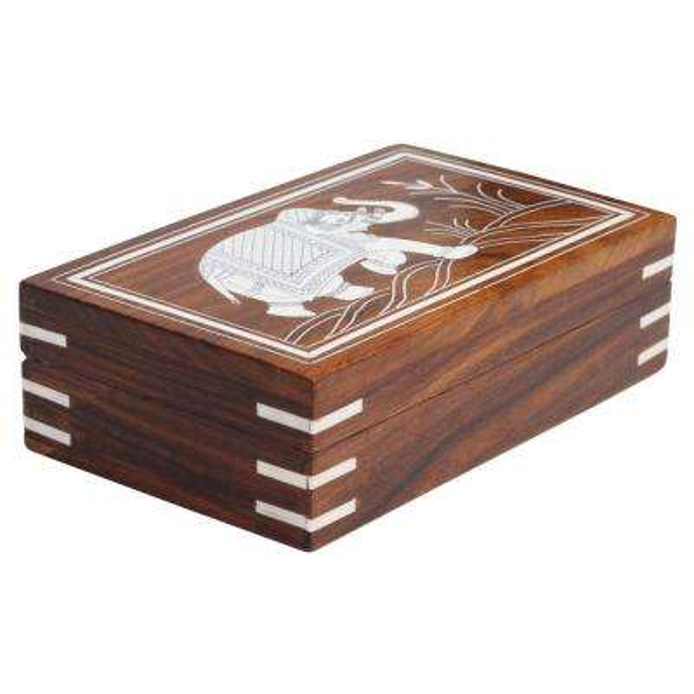 Brown Handmade Mango Wood Jewelry Box with Elephant Design