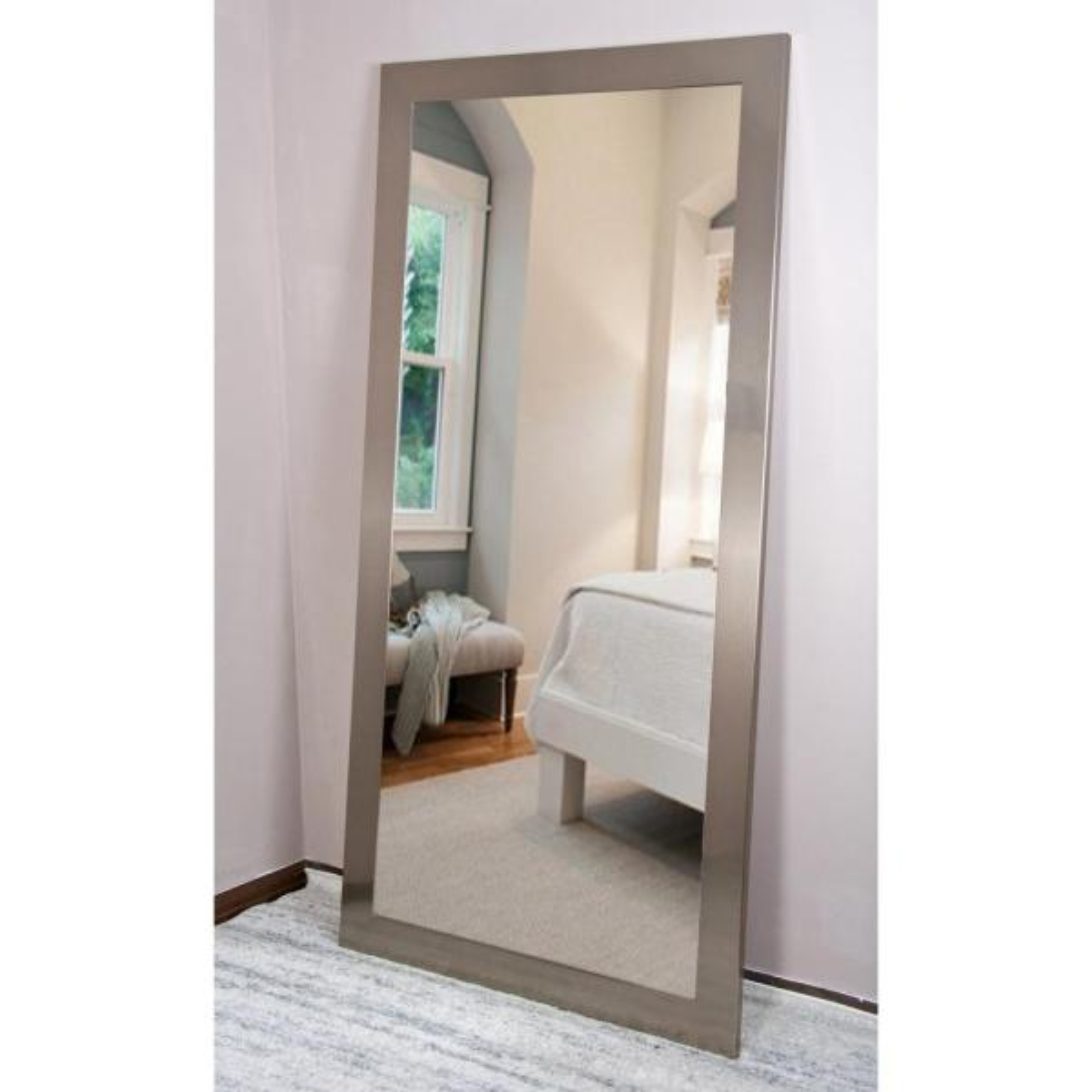 Medium Silvertone Composite Hooks Modern Mirror (32 in. H X 65.5 in. W)