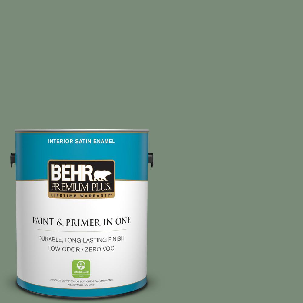 BEHR Premium Plus 1-gal. #450F-5 Amazon Moss Zero VOC Satin Enamel Interior Paint