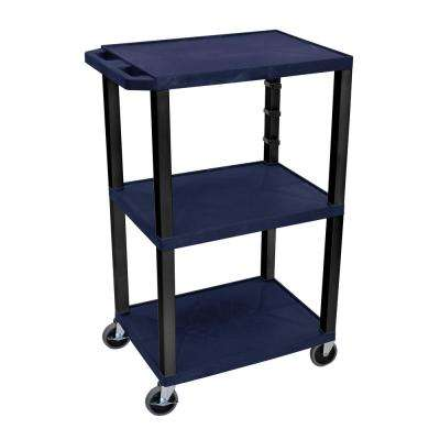 42 in. in 3-Shelf Utility Cart - Navy Blue with Black Legs