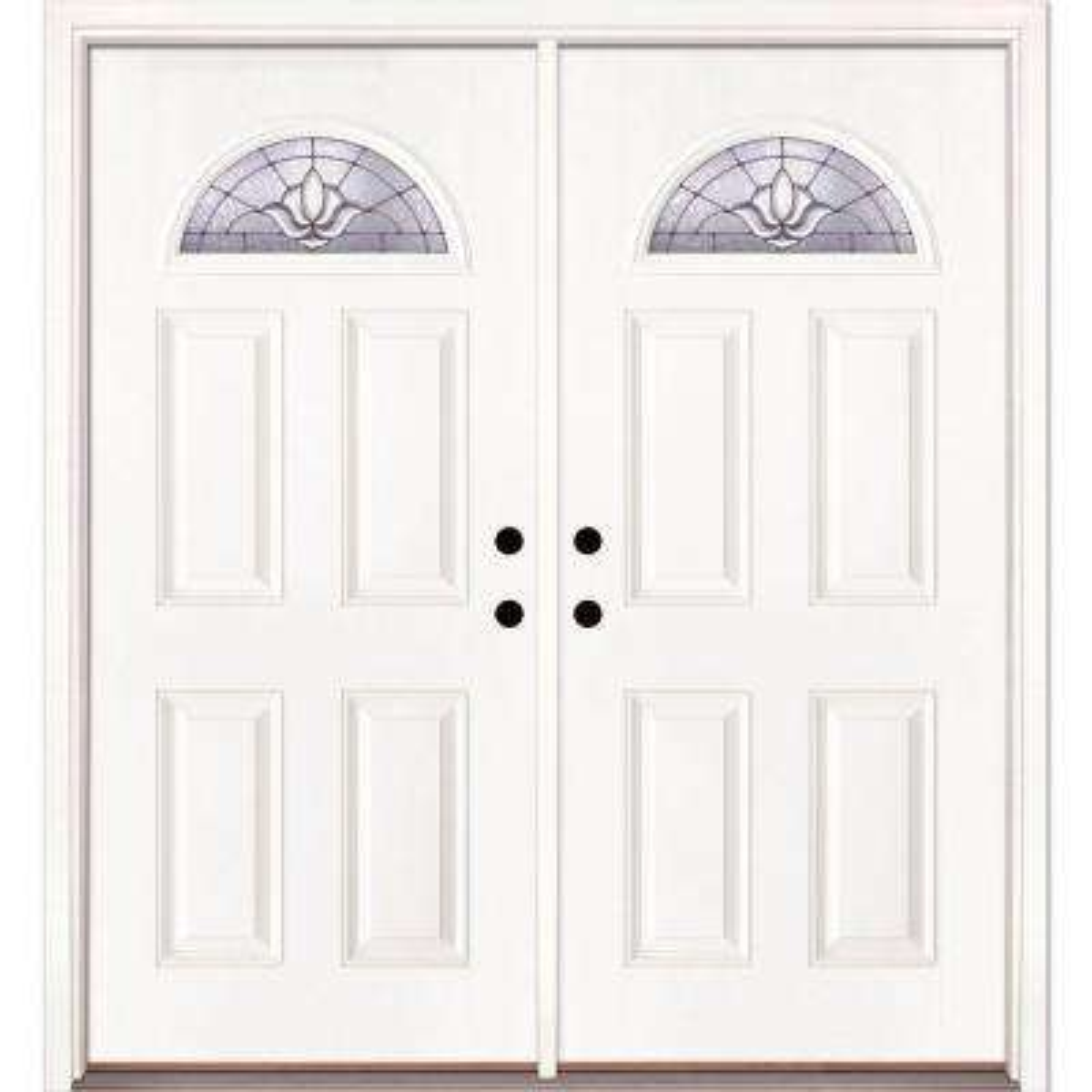 74 in. x 81.625 in. Medina Zinc Fan Lite Unfinished Smooth Left-Hand Inswing Fiberglass Double Prehung Front Door