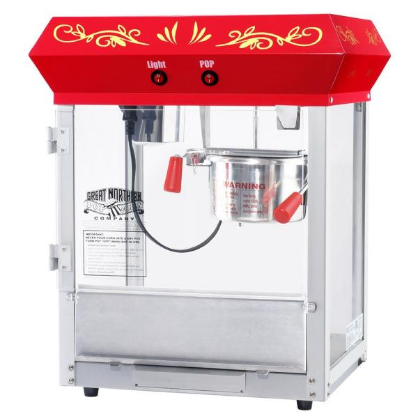Great Northern All-Star 4 oz. Red Stainless Steel Popcorn Machine