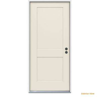 36 in. x 80 in. 2-Panel Craftsman Primed Steel Prehung Left-Hand Inswing Front Door