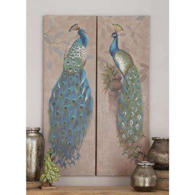 65 in. x 14 in. Multi-color Peacocks on Pink Background Hand-Painted Framed Canvas Wall Art (Set of 2)
