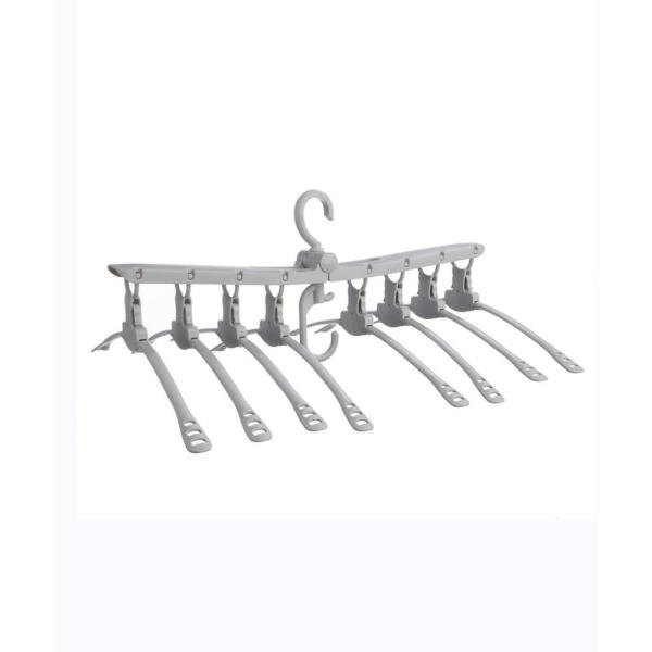 Gray Collapsible 8-Clothes Hangers System