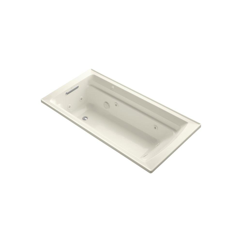 KOHLER Archer 6 ft. Whirlpool Tub in Biscuit-K-1124-W1-96 - The Home ...