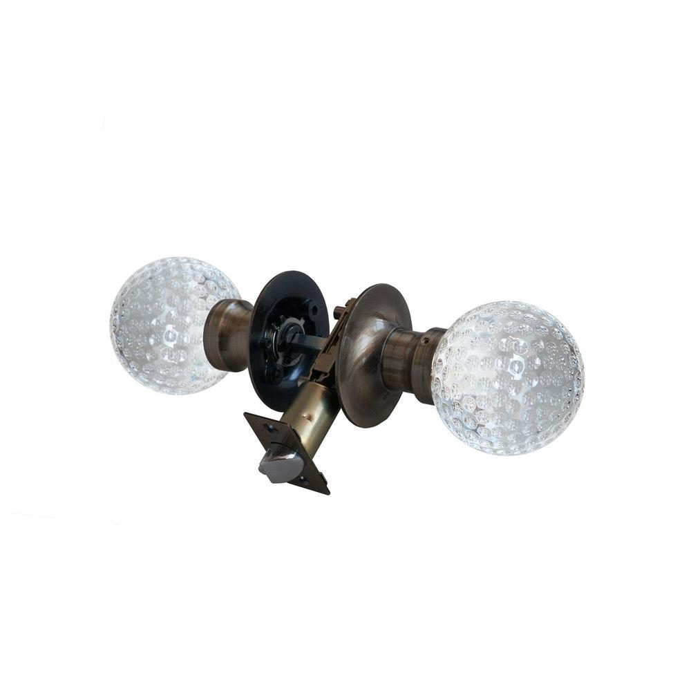 Krystal Touch of NY Golf Ball Crystal Antique Brass Passive Door Knob with LED Mixing Lighting Touch Activated