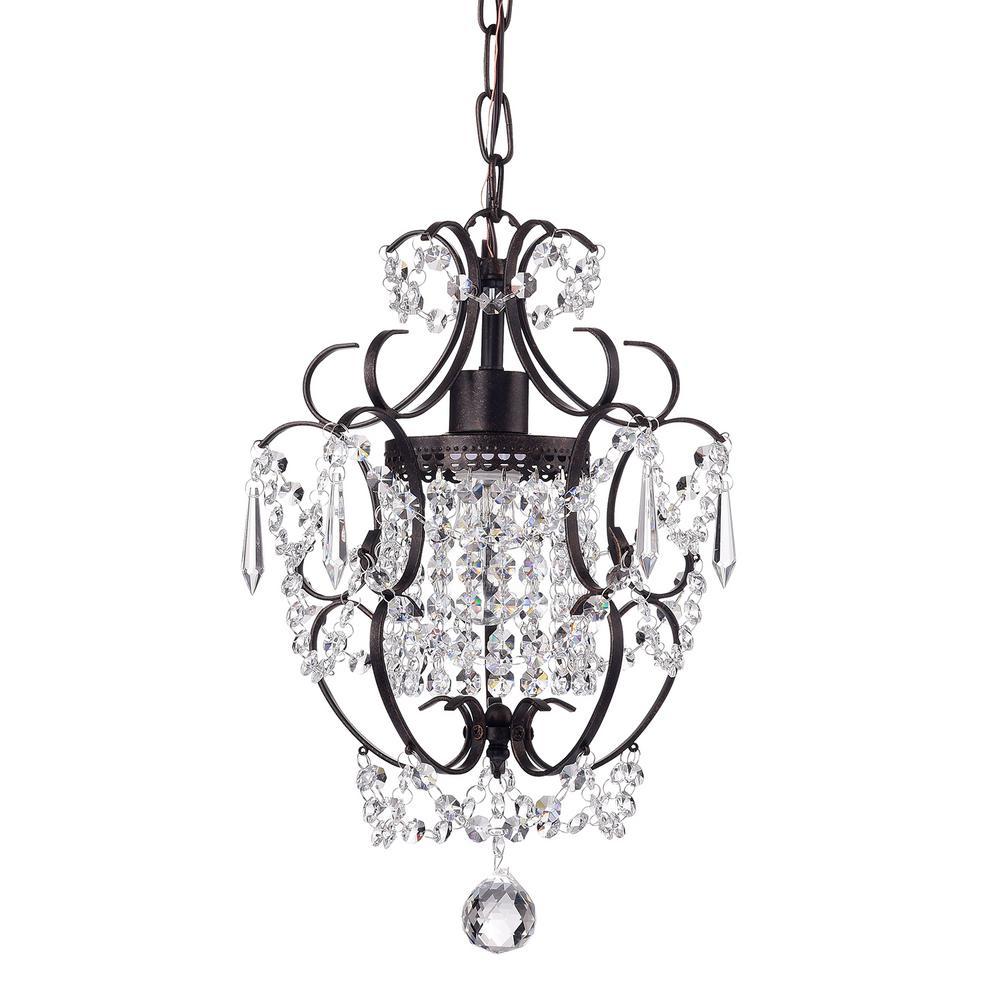 Edvivi Amorette 1-Light Chrome Finish Mini Chandelier Wrought Iron Ceiling Light