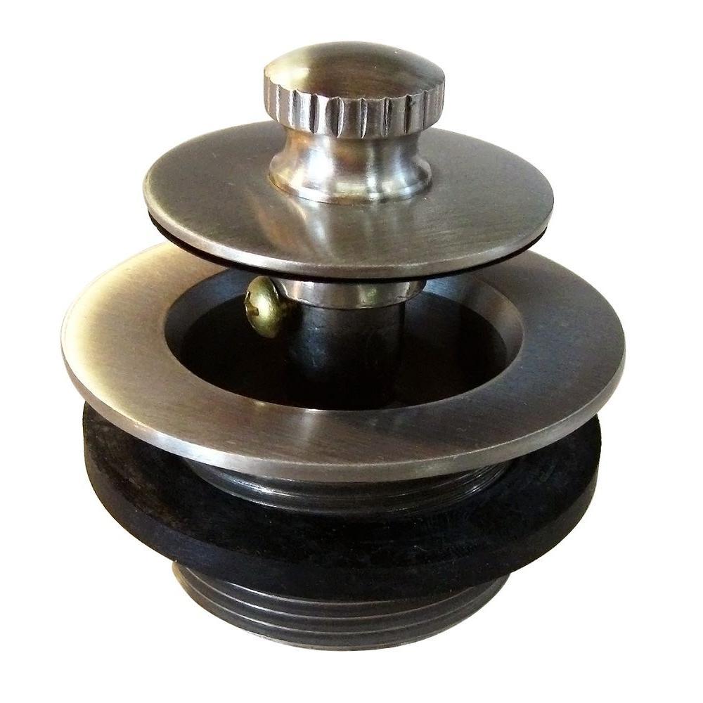 1-3/8 in. NPSM Fine Thread Twist-and-Close Bath Drain Plug in Satin