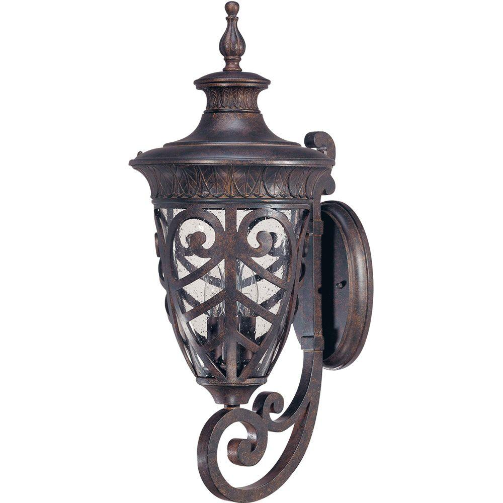 3-Light Outdoor Dark Plum Bronze Arm up Large Wall Lantern with