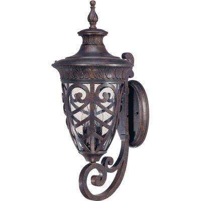 3 Light Outdoor Dark Plum Bronze Arm Up Large Wall Lantern With Seeded  Glass Shade