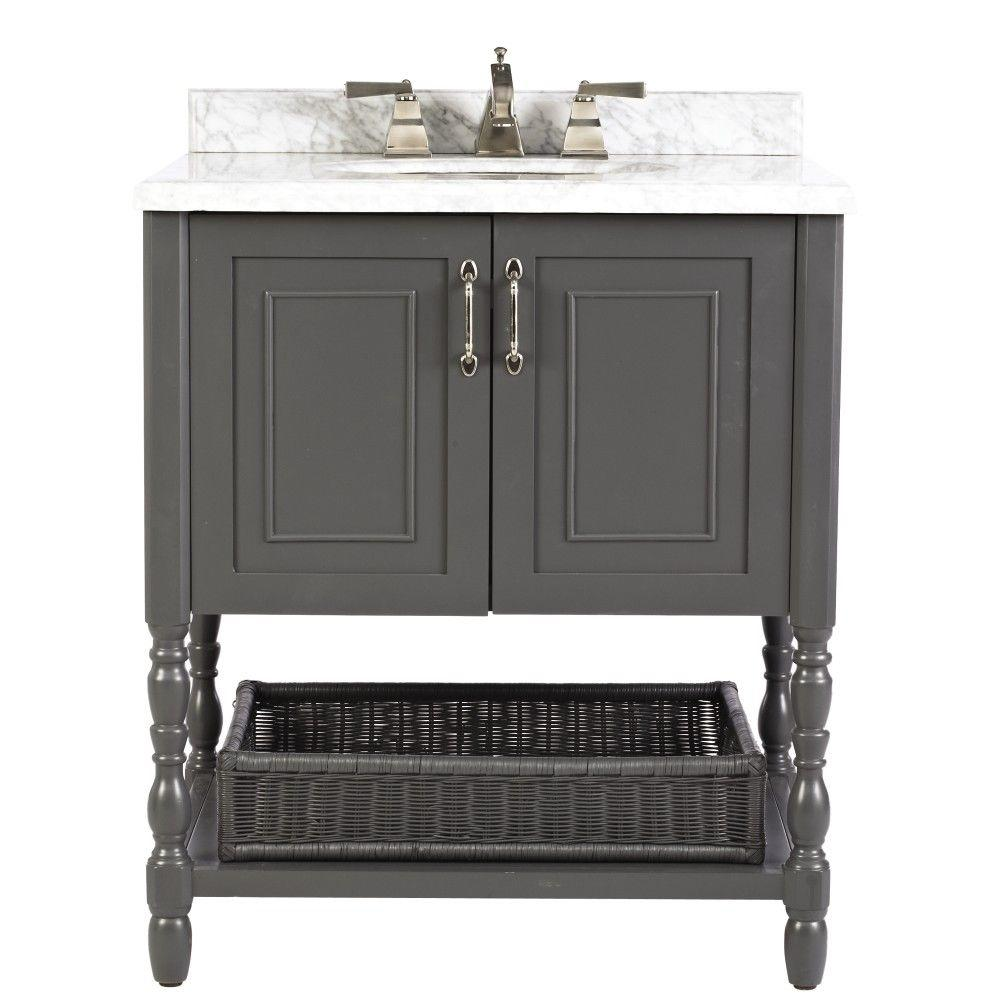 Home Decorators Collection Karlie 30 in. W x 22 in. D Bath Vanity in Dark Charcoal with Natural Marble Vanity Top in White