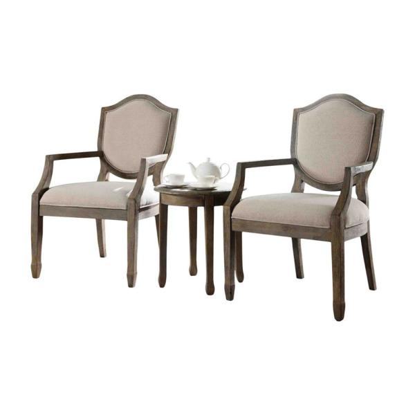 Solace Antique Natural 3-Piece Traditional Accent Chair with End Table Set