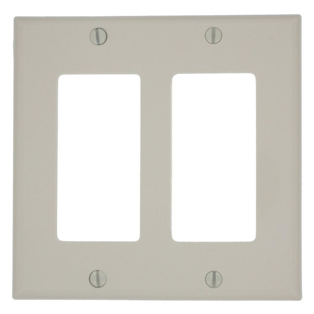 Leviton 2-Gang Decora Nylon Wall Plate, Light Almond