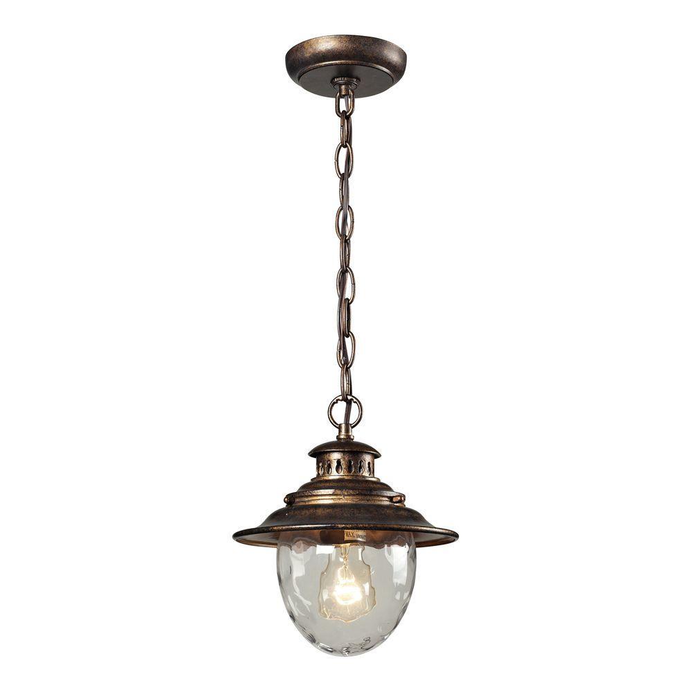 Titan Lighting Searsport 1-Light Regal Bronze Outdoor Pendant