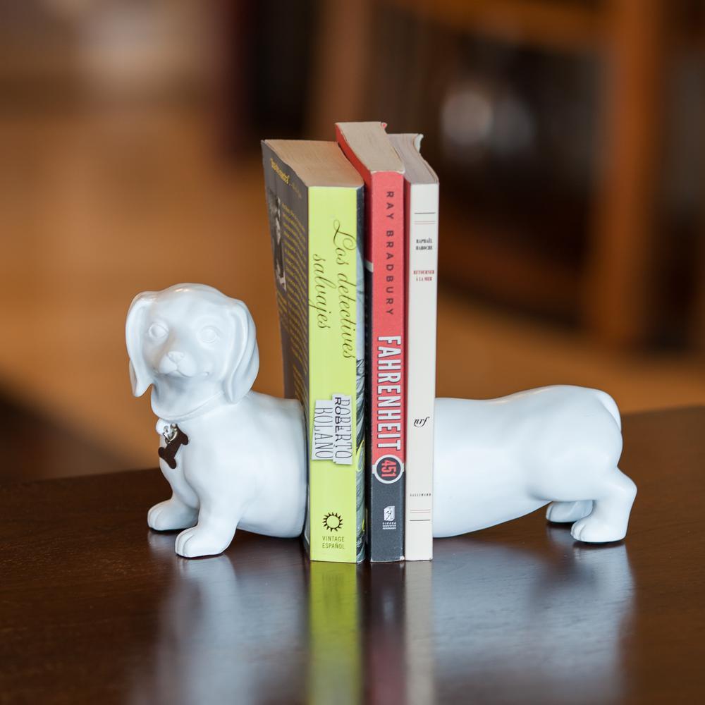 DANYA B. Dachshund Dog White Resin Bookends (Set of 2), W...