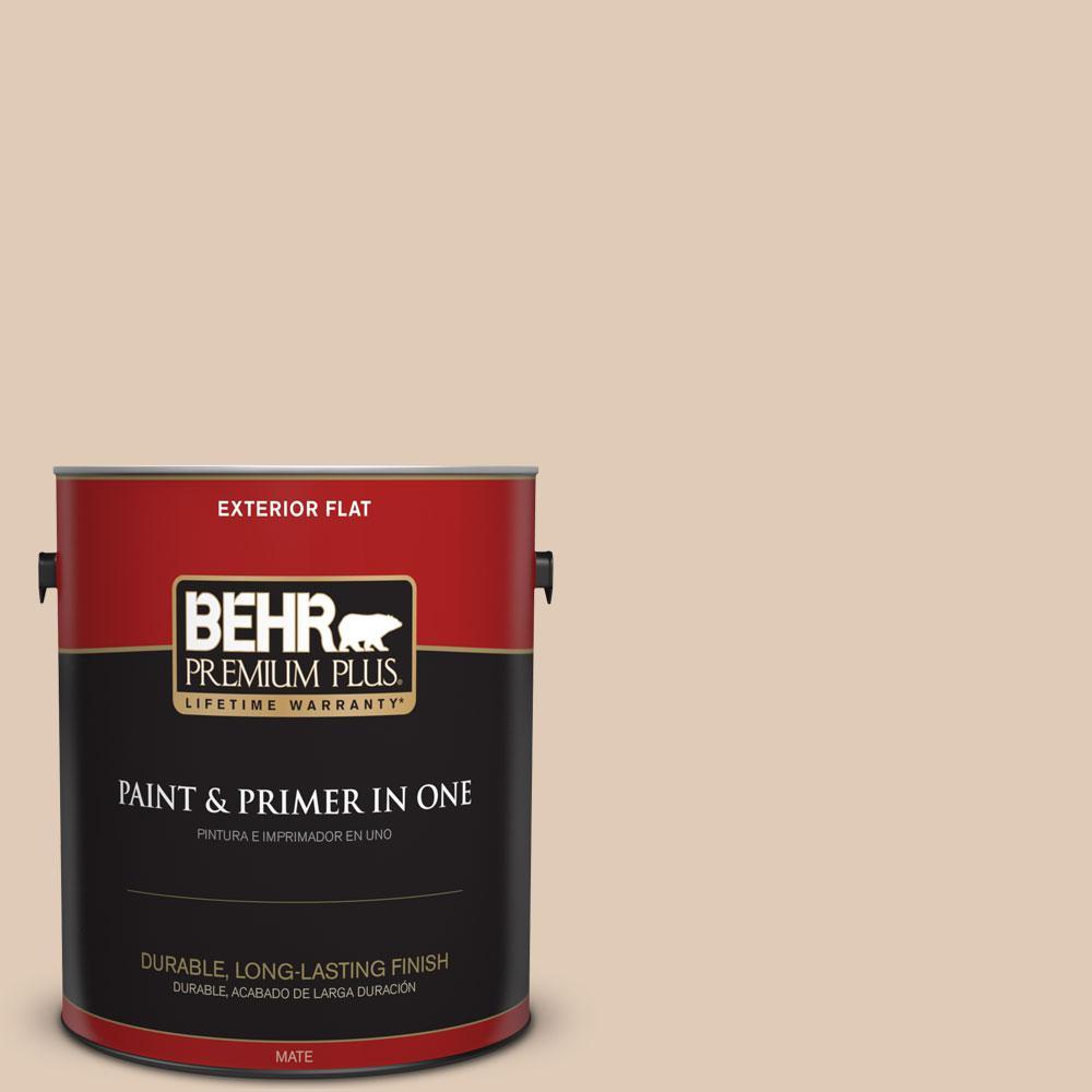 BEHR Premium Plus 1-gal. #S240-2 Rice Crackers Flat Exterior Paint