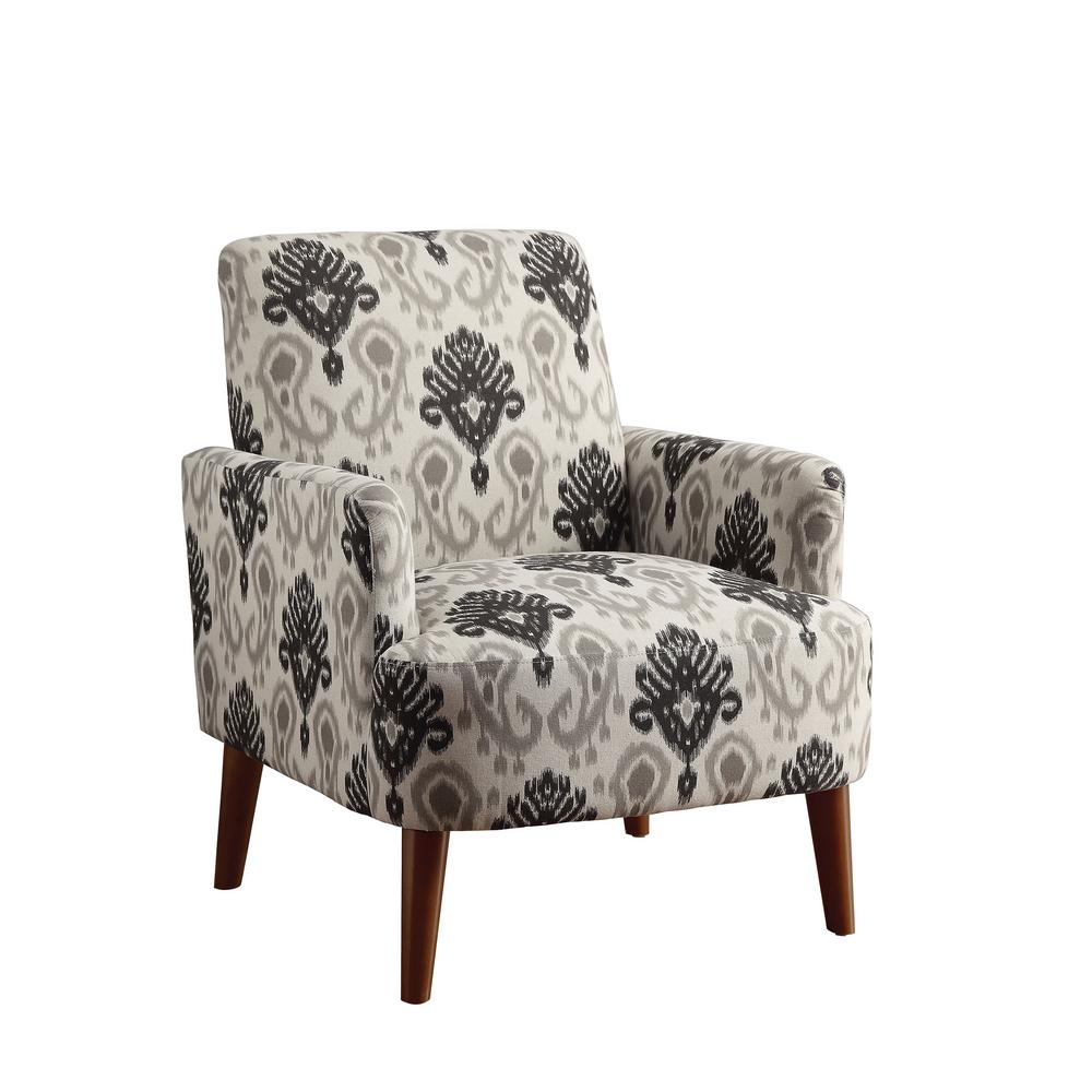 Bray Cherry Frame Accent Chair In Black And Gray Pattern