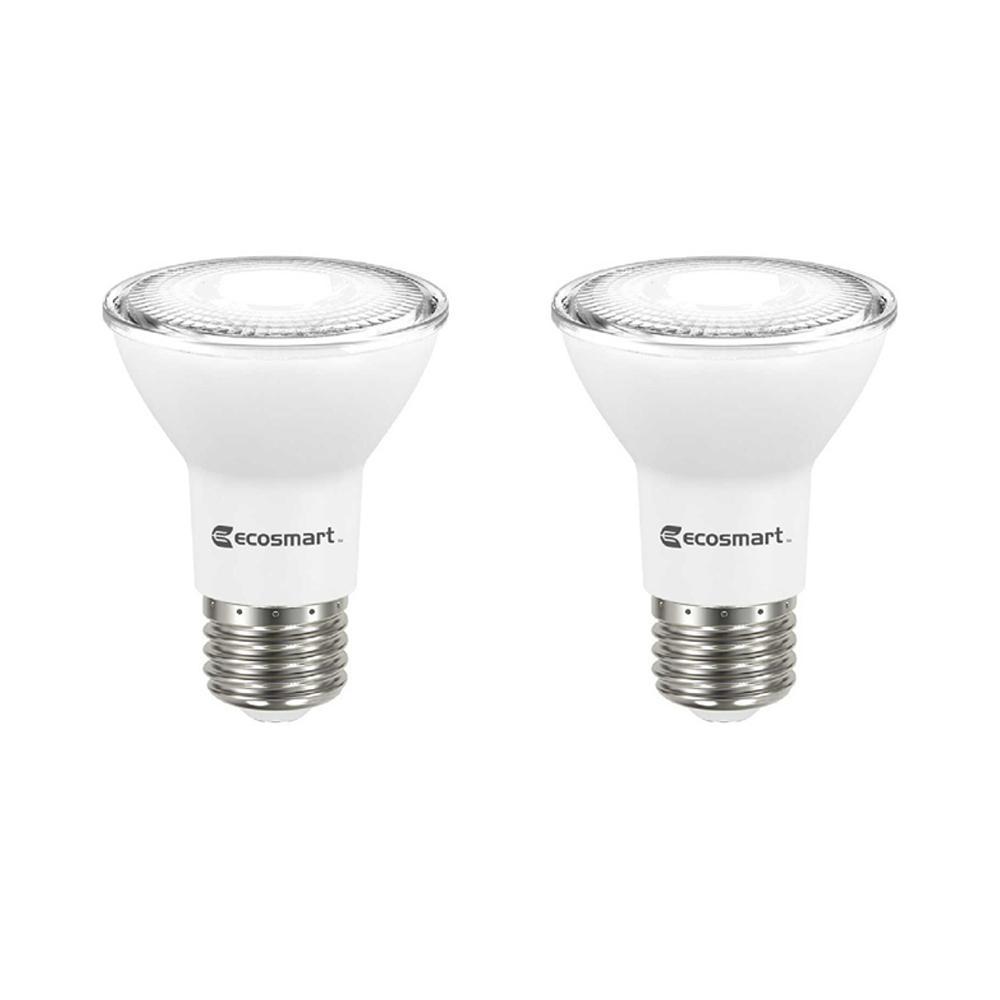 EcoSmart 50-Watt Equivalent PAR20 Dimmable Energy Star LED Light Bulb Bright White (2-Pack)