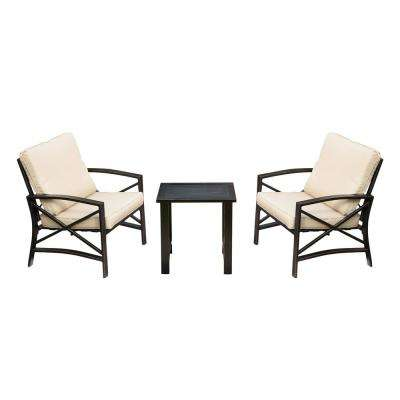 3-Piece Metal Patio Deep Seating Set with Beige Cushions