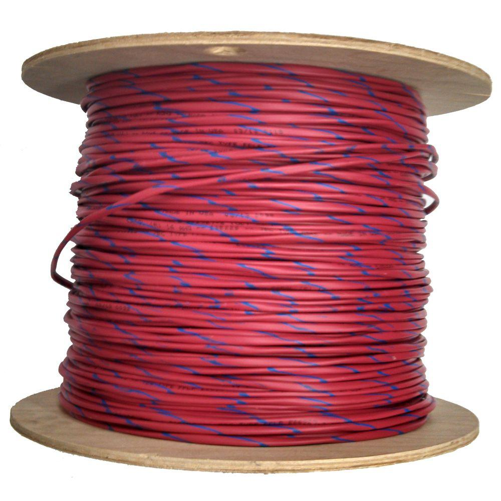 Allcable 1,000 ft. 18/2 Blue Striped Plenum Fire Alarm Cable - Red